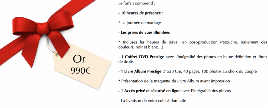 Forfait mariage Or 2015
